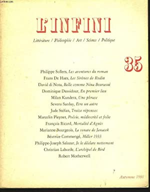 L'INFINI. LITTERATURE, PHILOSOPHIE, ART, SCIENCE, POLITIQUE. N°35,: COLLECTIF