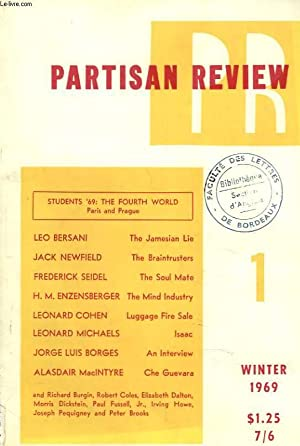 PARTISAN REVIEW, VOL. XXXVI, N°1, WINTER 1969. STUDENT'68: THE FOURTH WORLD, PARIS AND ...