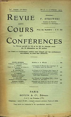 REVUE DES COURS ET CONFERENCES, 30e ANNEE, N°5, 15 FEVRIER 1929. HENRI BUSSON : RABELAIS ET LE ...