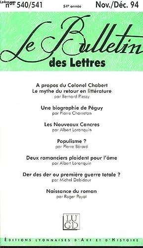LE BULLETIN DES LETTRES N°540-541, 54e ANNEE,: COLLECTIF