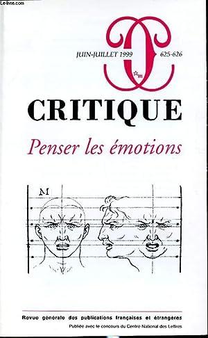 CRITIQUE N°625-626 : Penser les émotions: COLLECTIF