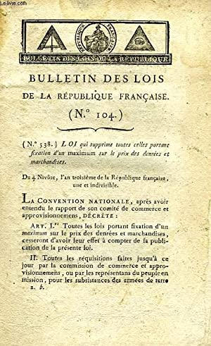 BULLETIN DES LOIS DE LA REPUBLIQUE FRANCAISE, N° 104 (AN III): COLLECTIF