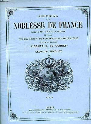 ARMORIAL DE LA NOBLESSE DE FRANCE, EXTRAIT: DE GENNES: GENNES VICOMTE E. DE, NIVOLEY LEOPOLD