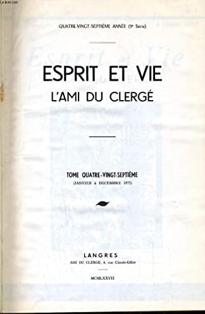 ESPRIT ET VIE L'AMI DU CLERGE (revue: COLLECTIF
