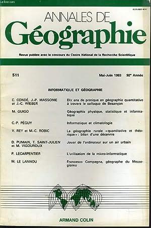 ANNALES DE GEOGRAPHIES bulletin de la société géographique) n°511 : 10 ans...