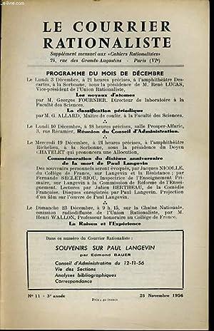 """LE COURRIER RATIONALISTEn°11 (supplément mensuel aux """"cahiers Souvenirs sur Paul ..."""
