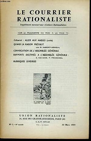 """LE COURRIER RATIONALISTEn°3 (supplément mensuel aux """"cahiers rationalistes"""") :..."""