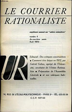 """LE COURRIER RATIONALISTE n°4 (supplément mensuel aux """"cahiers rationalistes"""") ..."""