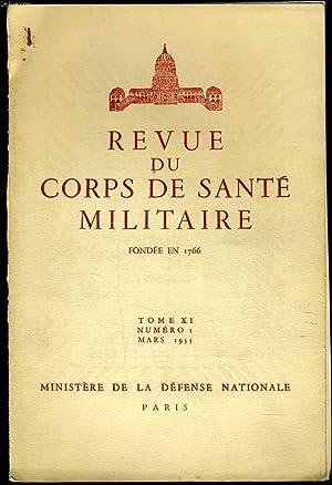 REVUE DU CORPS DE SANTE MILITAIRE Tome XI n°1: MINISTERE DE LA DEFENSE