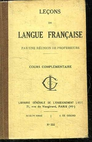 LECONS DE LANGUE FRANCAISE. COURS ELEMENTAIRE.: COLLECTIF.