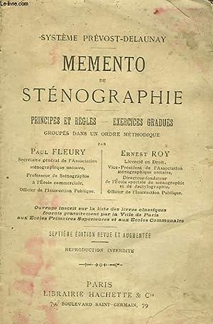 MEMENTO DE STENOGRAPHIE. PRINCIPES ET REGLES -: PAUL FLEURY, ERNEST