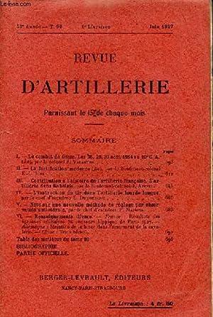 REVUE D'ARTILLERIE TOME 99 LIVRAISON 6: COLLECTIF
