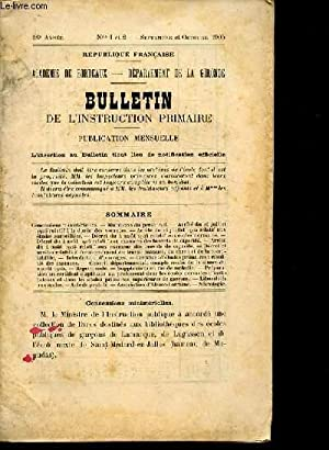 BULLETIN DE L'INSTRUCTION PRIMAIRE N° 1 ET 2: REPUBLIQUE FRANCAISE