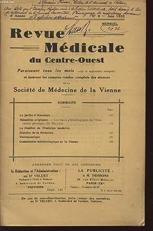 REVUE MEDICALE DU CENTRE-OUEST - ANNEE 1932 - N°6 - JUIN.: VELUET (DOCTEUR)