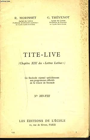"""TITE-LIVE (CHAPITRE XIX DES """"LETTRES-LATINES""""). N°369-VIII. Classe de seconde.: R. ..."""