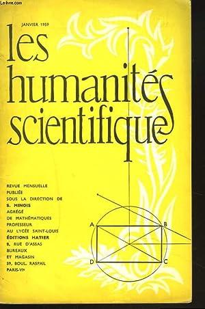 LES HUMANITES SCIENTIFIQUES, REVUE MENSUELLE 26e ANNEE SCOLAIRE, N°250. JANVIER 1959, N°4. ...