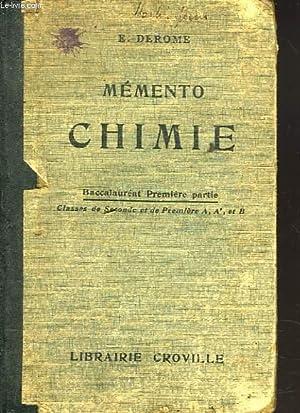 MEMENTO DE CHIMIE. BACCALAUREAT 1e PARTIE / .: E. DEROME