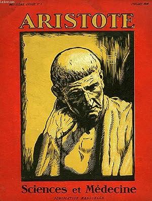ARISTOTE, 2e ANNEE, N° 7, JUILLET 1927, SCIENCE ET MEDECINE: COLLECTIF