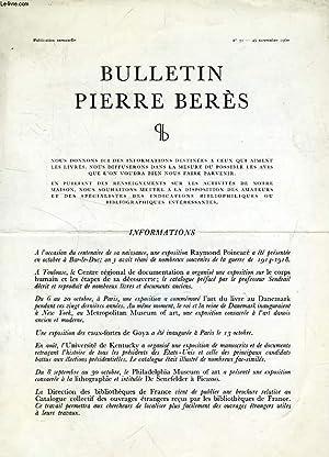 BULLETIN PIERRE BERES, N° 31, NOV. 1960: COLLECTIF