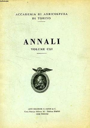 ANNALI DELL'ACCADEMIA DI AGRICOLTURA DI TORINO, VOL. CXI, 1968-1969: COLLECTIF
