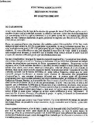FORUM DES ASSOCIATIONS, REUNIONS ET ASSEMBLEES D'OCTOBRE 1997 à MAI 1998: COLLECTIF