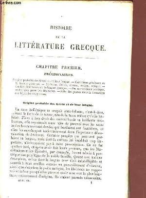 HISTOIRE DE LA LITTERATURE GRECQUE.: COLLECTIF