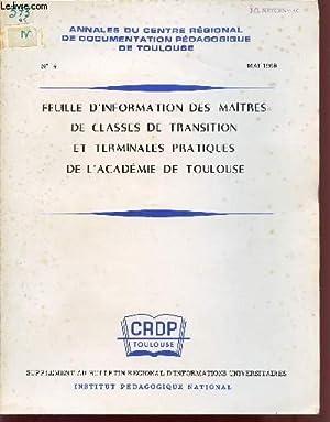 FEUILLE D'INFORMATION DES MAITRES DE CLASSES DE TRANSITION ET TERMINALES PRATIQUES DE L'...