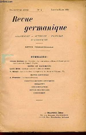 REVUE GERMANIQUE / ALLEMAGNE - ANGLETERRE - ETATS-UNIS - PAYS-BAS - SCANDINAVIE / DIX-SEPTIEME ...