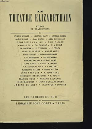 LE THEATRE ELIZABETHIN. ETUDES ET TRADUCTIONS de: COLLECTIF