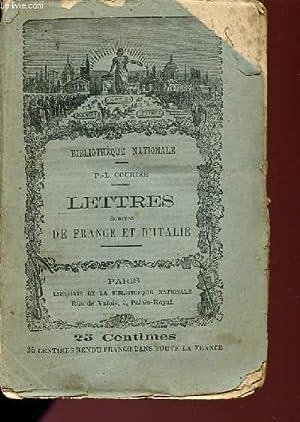 LETTRES ECRITES DE FRANCE ET D'ITALIE.: COURIER P.L.