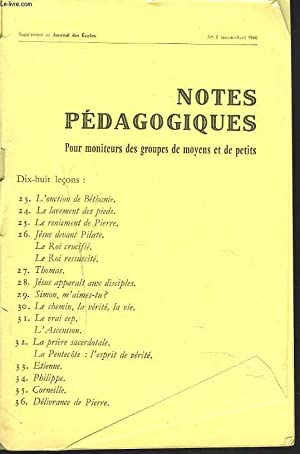 NOTES PEDAGOGIQUES. SUPPLEMENT AU JOURNAL DES ECOLES: R. COOK (GERANT)