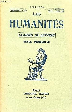 LES HUMANITES / CLASSES DE LETTRES / 9ème ANNEE SCOLAIRE - N°91 / ANNEE ...