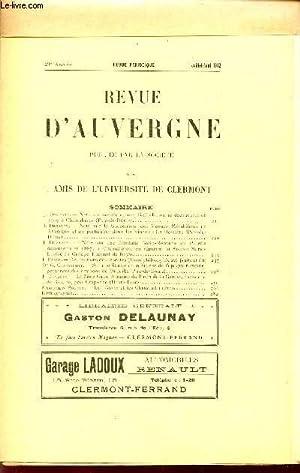 REVUE D'AUVERGNE ET BULLETIN DE L'UNIVERSITE / 29è ANNEE - JUILLET-AOUT 1912....