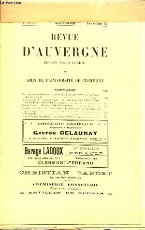REVUE D'AUVERGNE / 30è ANNEE - SEPTEMBRE-OCTOBRE 1913.: COLLECTIF