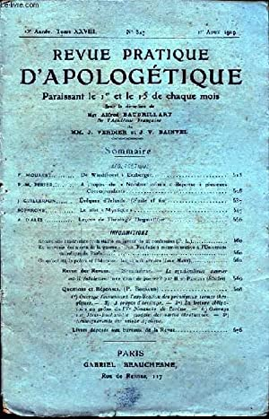 REVUE PRATIQUE D APOLOGETIQUE N°327 : F. MOURRET - DE WINDTHORST A ERZBERGER.: Mgr ALFRED ...