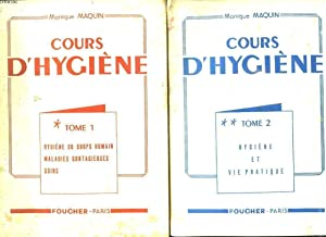 2 TOMES. COURS D HYGIENE. TOME 1: HYGIENE DU CORP HUMAIN, MALADIES CONTAGIEUSES, SOINS. TOME 2: ...