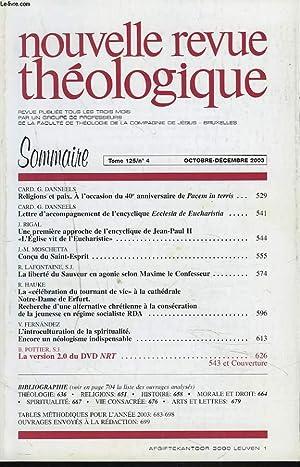 NOUVELLE REVUE THEOLOGIQUE, TOME 125, N°4, OCT-DEC: COLLECTIF