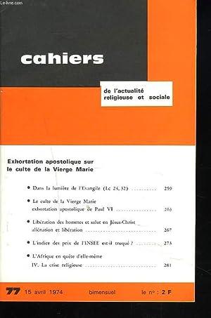 CAHIERS D'ACTION RELIGIEUSE ET SOCIALE N°77, 15: COLLECTIF
