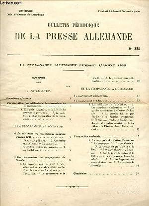 BULLETIN PERIODIQUE DE LA PRESSE ALLEMANDE / N° 331 / VENDREDI 29 - SAMEDI 20 JANVIER...