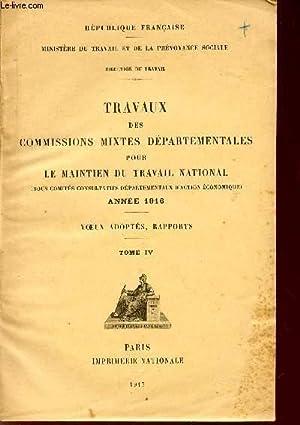 TRAVAUX DES COMMISSIONS MIXTES DEPARTEMENTALES POUR LE MAINTIEN DU TRAVAIL NATIONAL (SOUS COMITES ...