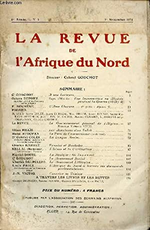 LA REVUE DE L'AFRIQUE DU NORD / 1ere ANNEE - N°1 / 1er NOVEMBRE 1921.: COLLECTIF...