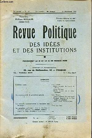 REVUE POLITIQUE - DES IDEES ET DES INSTITUTIONS / 44è ANNEE - N°19 - 15 DECEMBRE ...