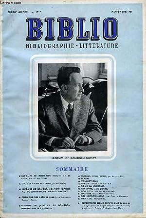 BIBLIO, BIBLIOGRAPHIE, LITTERATURE, XXXIIe ANNEE, N°9, NOVEMBRE 1964: COLLECTIF