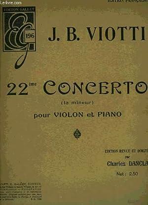 22EME CONCERTO POUR VIOLON ET PIANO: VIOTTI J.B.
