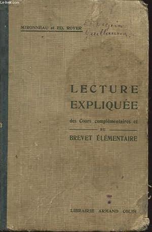 LECTURE EXPLIQUEE DES COURS COMPLEMENTAIRES ET DU BREVET ELEMENTAIRE: MIRONNEAU ET ED. ROYER