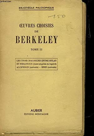 OEUVRES CHOISIES DE BERKELEY - TOME II: BERKELEY