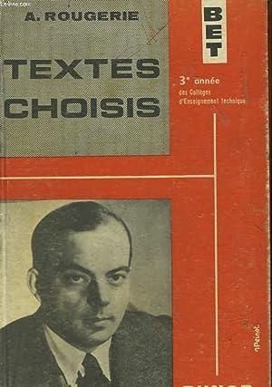 TEXTES CHOISIS: ROUGERIE A.