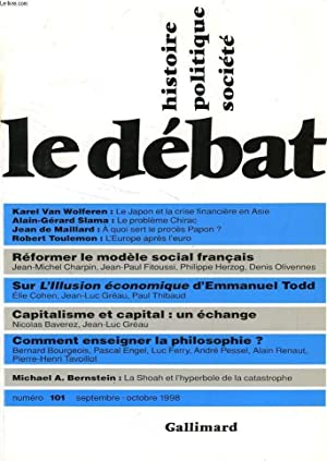 LE DEBAT, HISTOIRE, POLITIQUE, SOCIETE, 101, SEPT.-OCT. 1998: COLLECTIF