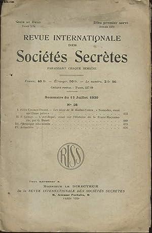 REVUE INTERNATIONALE DES SOCIETES SECRETES TOME XIX: COLLECTIF