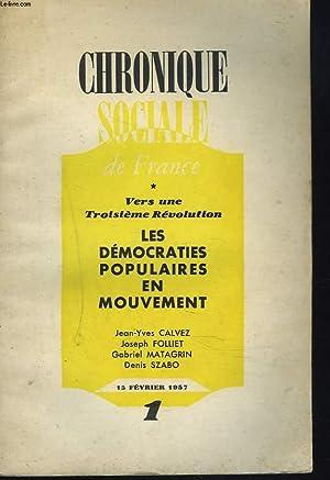 CHRONIQUE SOCIALE DE FRANCE N°1, FEVRIER 1957.: MICHEL CHARTIER (GERANT)